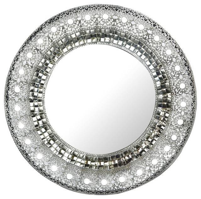 Lulu Decor, Oriental Round Silver Metal Wall Mirror, Oriental Inside Round Silver Mirrors (#21 of 30)