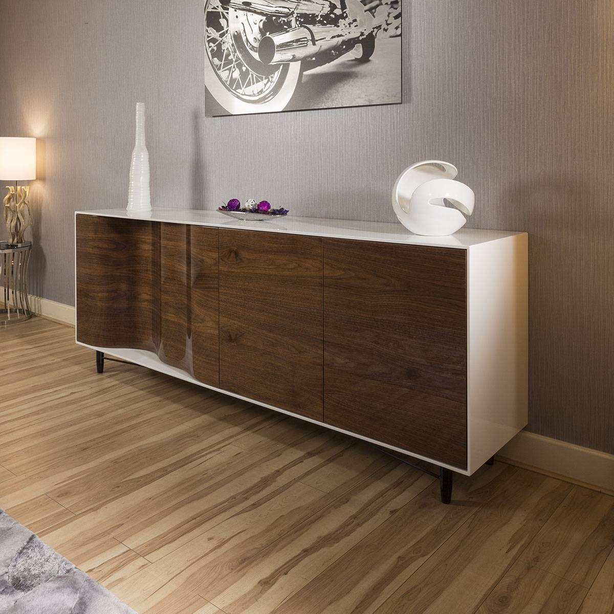 Excellent Luxury Large Modern Sideboard Cabinet High Gloss Walnut White With