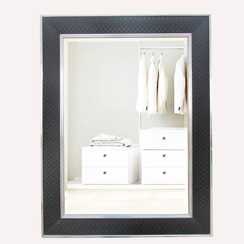 Luxury Rectangle Bathroom Wall Decorative Black Leather Framed With Regard To Black Leather Framed Mirrors (#21 of 30)