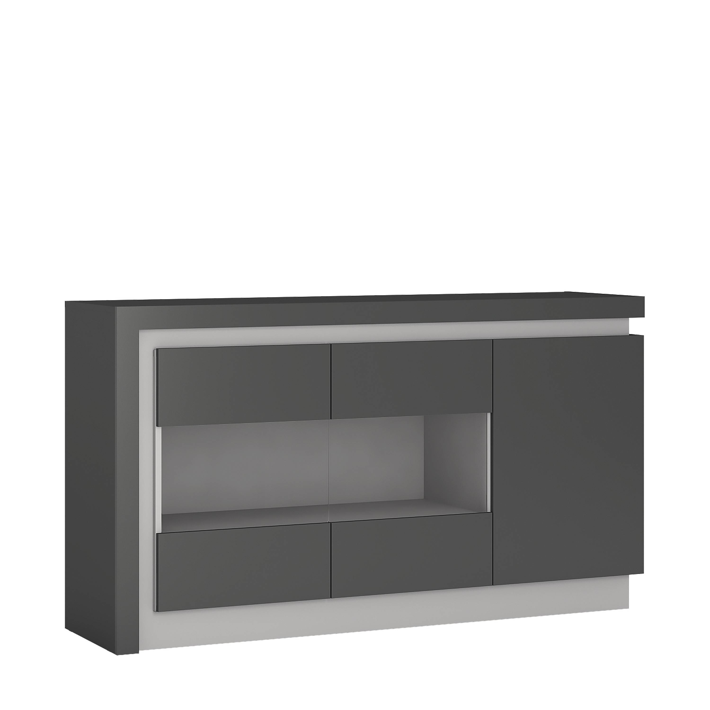 Lyon 3 Door Glazed Sideboard (Including Led Lighting) In Platinum Intended For Grey Gloss Sideboard (#10 of 20)