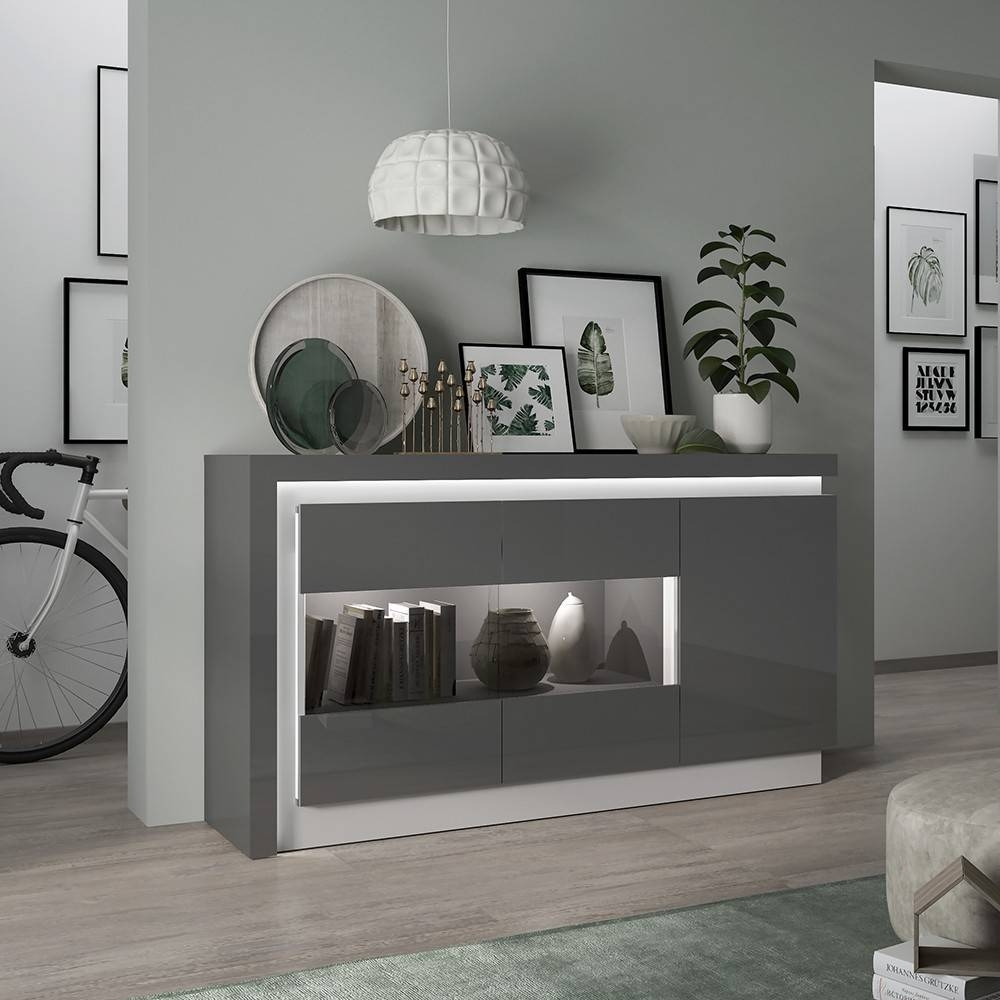 Lyon High Gloss Sideboard In Grey With Led Throughout Black High Gloss Sideboards (#15 of 20)