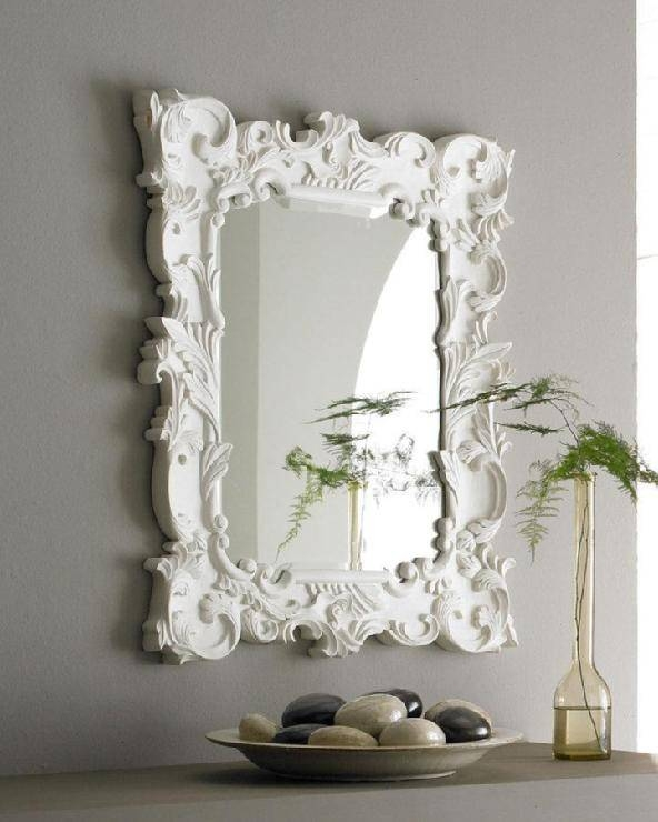Madeline White Baroque Mirror Pertaining To Large Baroque Mirrors (#17 of 20)