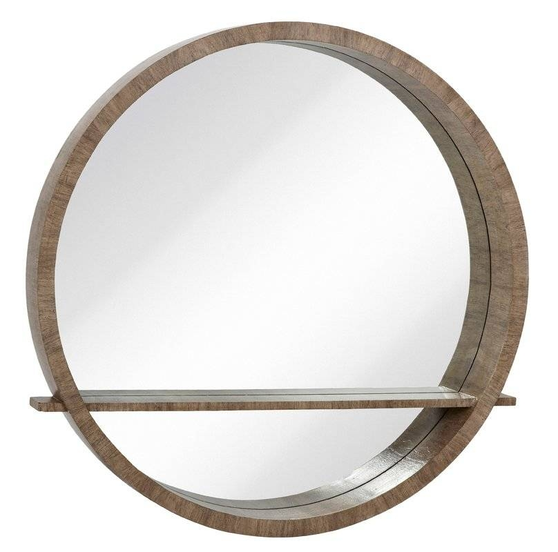 Majestic Mirror Distressed Gray Circular Wall Mirror With Shelf Pertaining To Circular Wall Mirrors (#10 of 20)