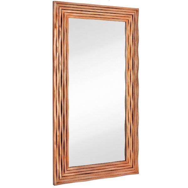 Majestic Mirror Large Rectangular Contemporary Wavy Polished Rose Regarding Contemporary Wall Mirrors (View 20 of 20)