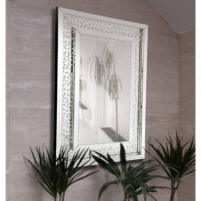 Majestic Mirror Rectangular Floating Crystals Beveled Panel Framed Within Wall Mirrors With Crystals (#15 of 20)
