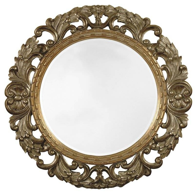 Majestic Mirror Traditional Antique Silver Round Beveled Glass In Silver Oval Mirrors (#12 of 20)
