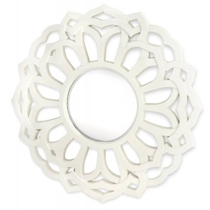 Majestic Mirrors Round Flower Mirror White Cm 1992 B Intended For Round White Mirrors (#10 of 30)
