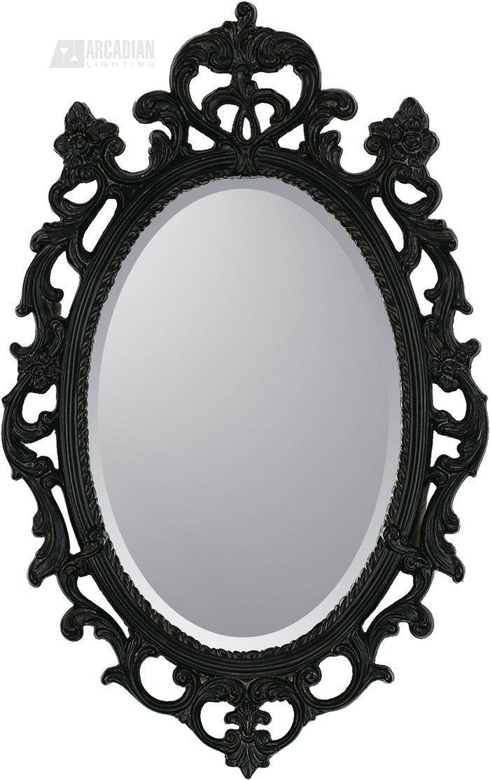 Malanta Knowles 8851 Black Ornate Traditional Oval Mirror Ppg 8851 Throughout Oval Black Mirrors (#10 of 20)