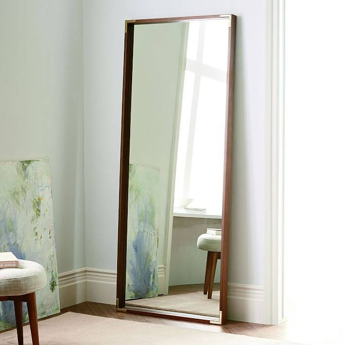 Malone Campaign Floor Mirror – Walnut | West Elm Throughout Vintage Full Length Mirrors (#15 of 20)