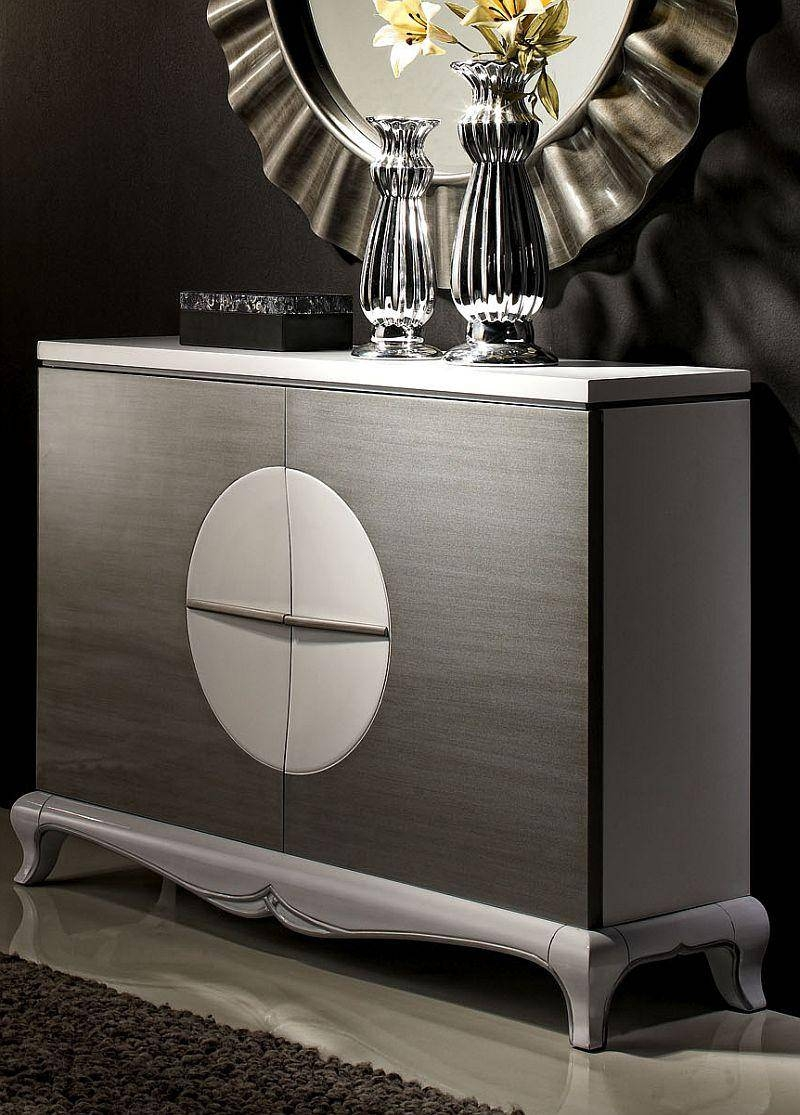 Malta, Contemporary Sideboard In Black Or White With Silver, Semi With Silver Sideboards (#4 of 20)