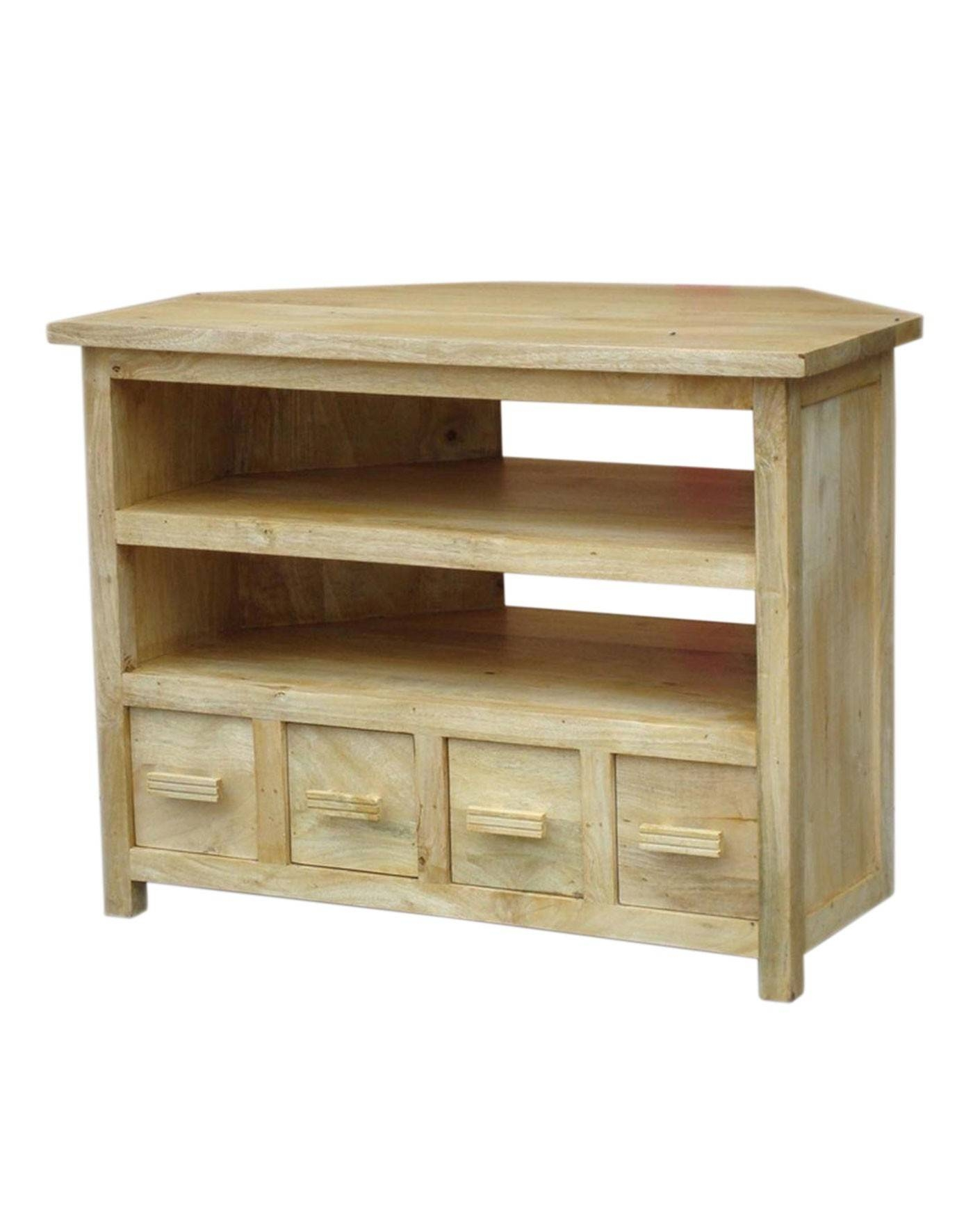 Mangat Tall Corner Tv Unit Oak Shade – Homescapes Inside Corner Sideboard Unit (View 20 of 20)