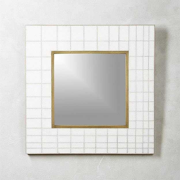 Marble Mosaic Square Wall Mirror 30"