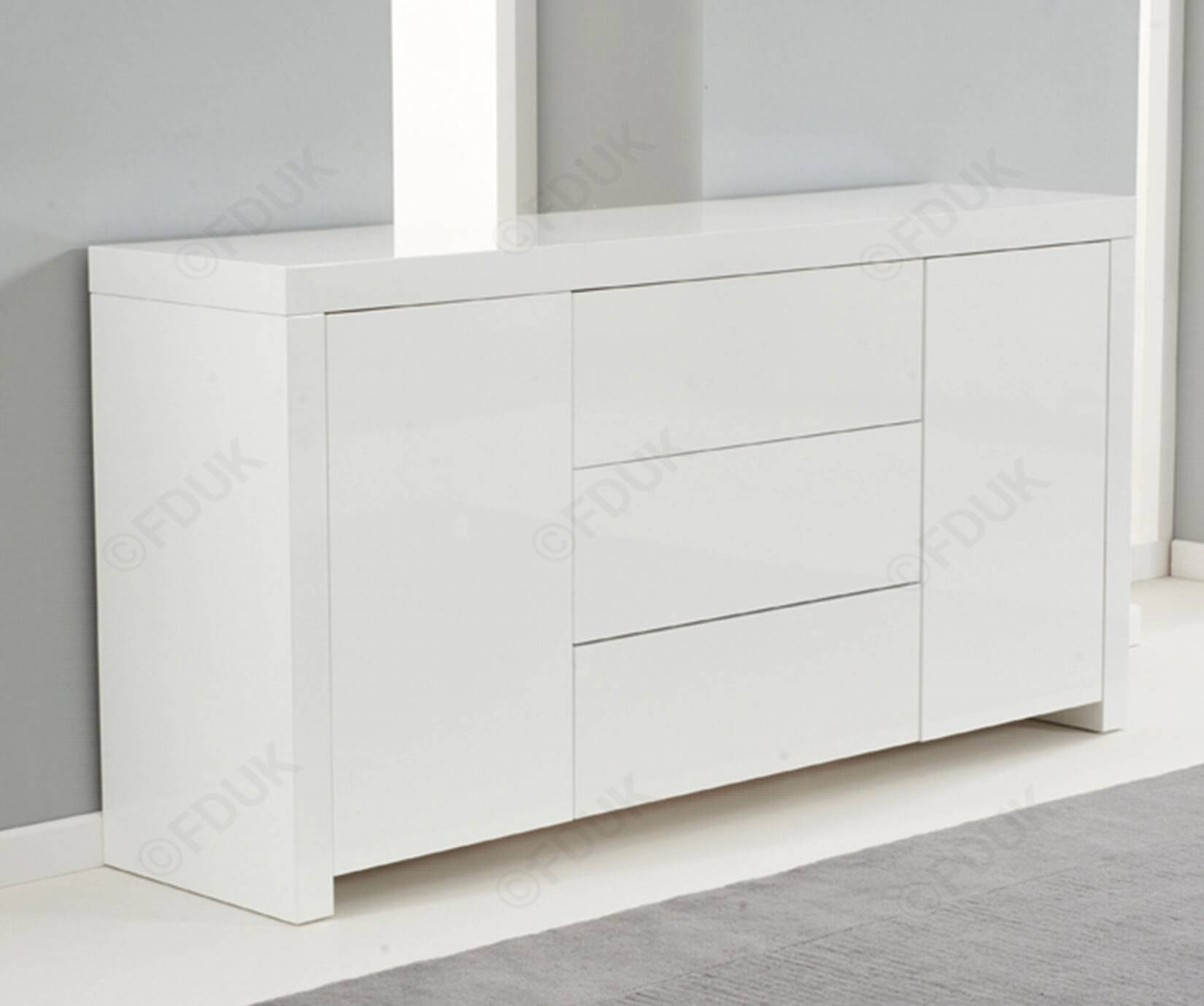 Mark Harris Hereford | Hereford White High Gloss Sideboard Intended For White Gloss Sideboards (#10 of 20)
