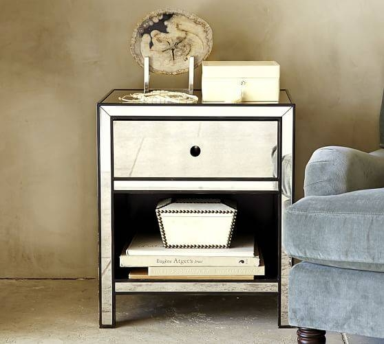 Marnie Mirrored Bedside Table | Pottery Barn Inside Bedside Tables Antique Mirrors (#15 of 20)