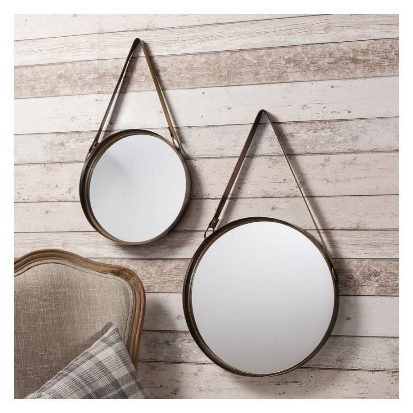Marston Set Of 2 Round Mirrors With Leather Strap – Cotterell & Co With Round Mirrors (View 8 of 30)