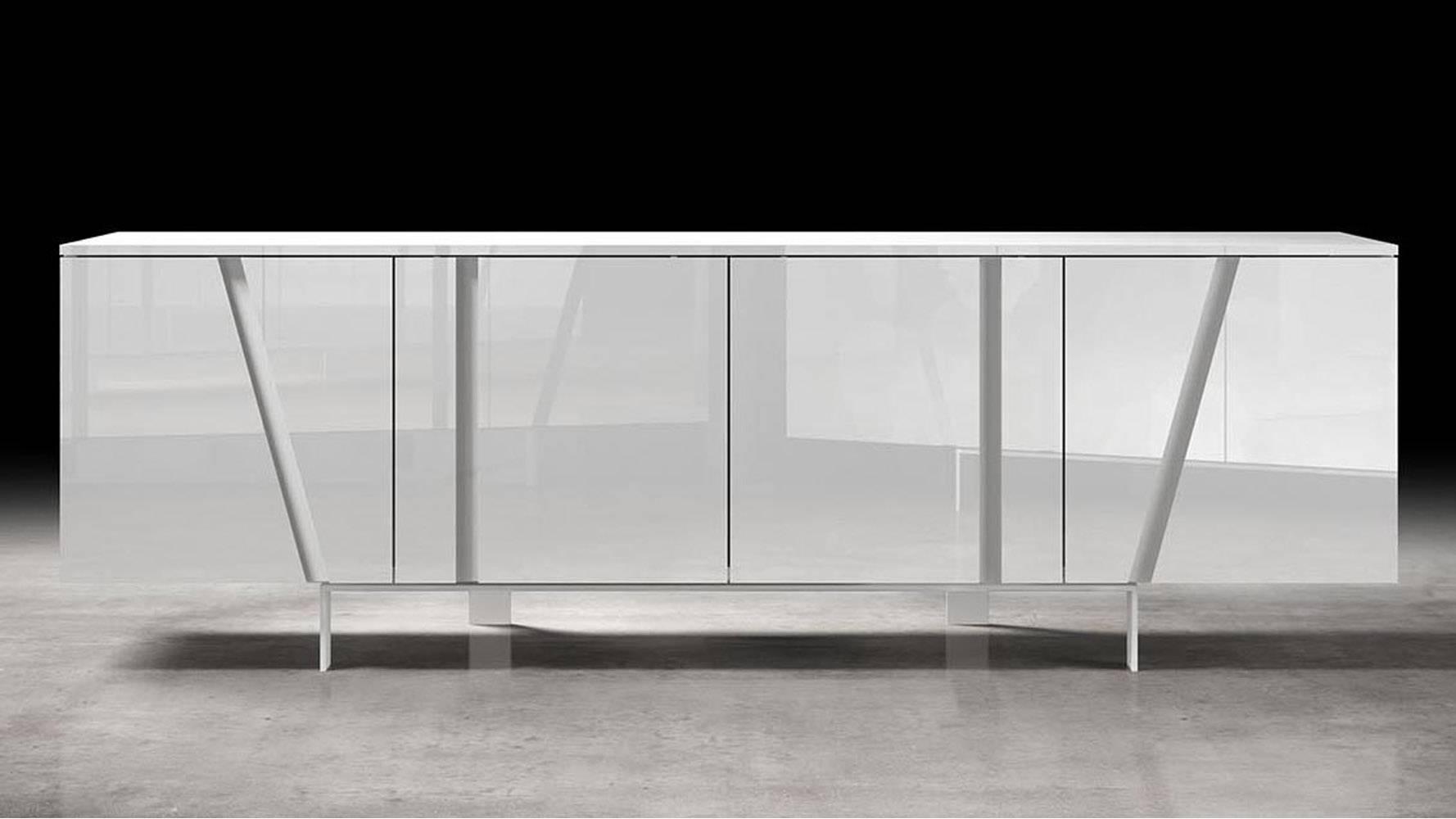 Marten Sideboard | Zuri Furniture Throughout White Glass Sideboard (View 17 of 20)