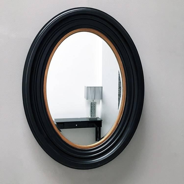 Medium Black With Gold Oval Mirror 87Cm X 67Cm X 5 Cm Medium Black Pertaining To Black Oval Mirrors (#24 of 30)
