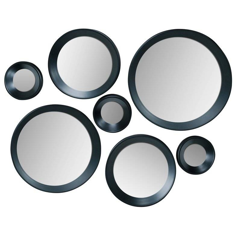 Inspiration about Mercury Row 7 Piece Black Frame Round Mirror Set & Reviews | Wayfair In Black Round Mirrors (#9 of 20)