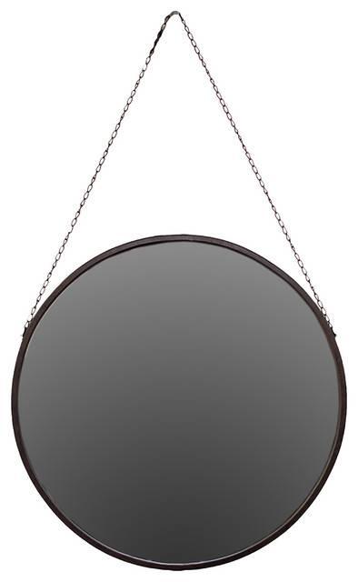 Metal Frame Round Circle Mirror Chain Link Hanger Design Wall Art Regarding Black Circle Mirrors (#15 of 20)