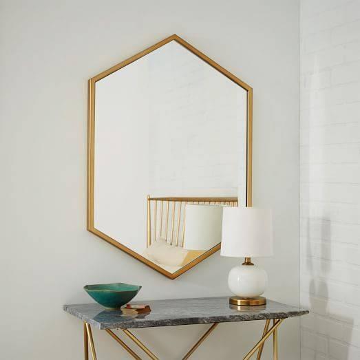 Metal Framed Hexagon Mirror – Antique Brass | West Elm For Brass Mirrors (#9 of 15)
