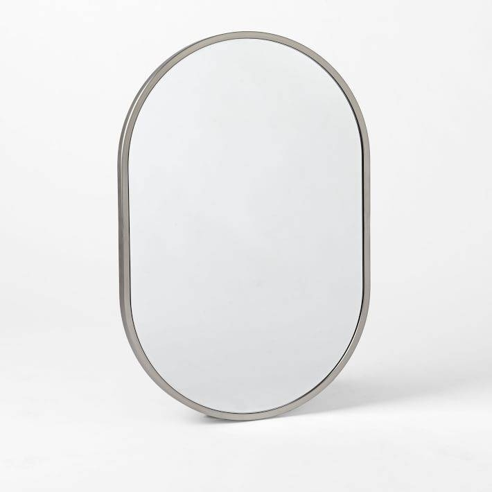 Metal Framed Oval Wall Mirror – Brushed Nickel | West Elm With Regard To White Metal Mirrors (#15 of 20)