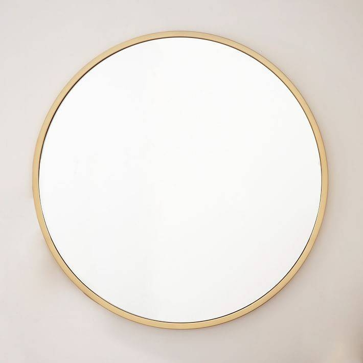 Metal Framed Oversized Round Mirror | West Elm In Gold Round Mirrors (View 4 of 20)