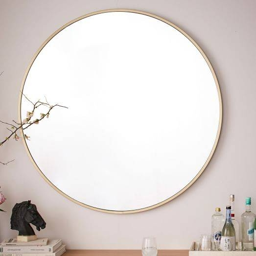 Metal Framed Oversized Round Mirror | West Elm Intended For Large Circular Mirrors (#17 of 20)