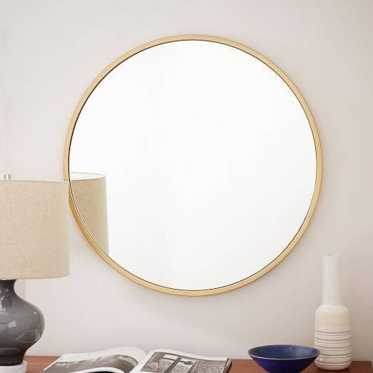 Metal Framed Round Wall Mirror | West Elm For Small Antique Wall Mirrors (#22 of 30)