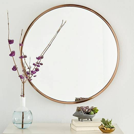 Metal Framed Round Wall Mirror | West Elm Intended For Large Round Metal Mirrors (View 21 of 30)