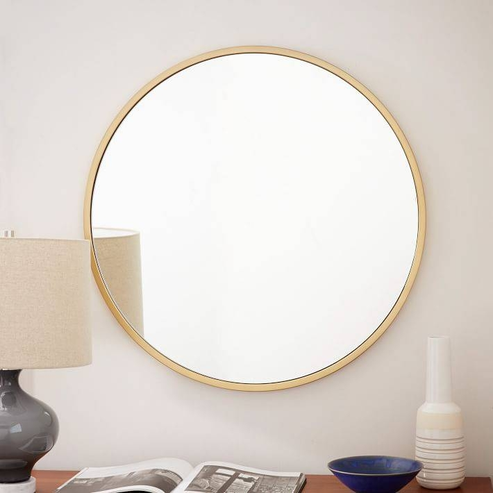 Metal Framed Round Wall Mirror | West Elm With Regard To Blue Round Mirrors (#21 of 30)