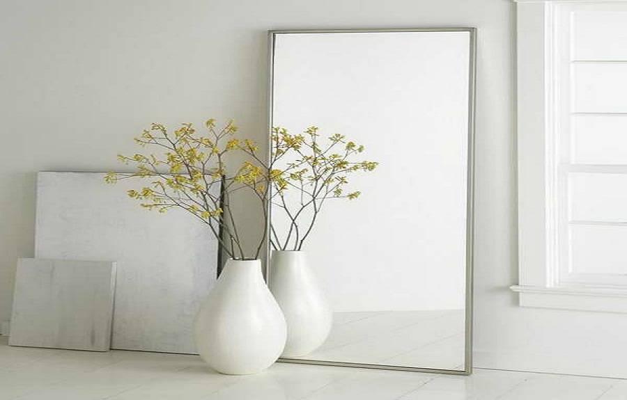 Metal Ikea Mirrors Floor Vase With White, Leaning Floor Mirrors Inside White Metal Mirrors (#16 of 20)