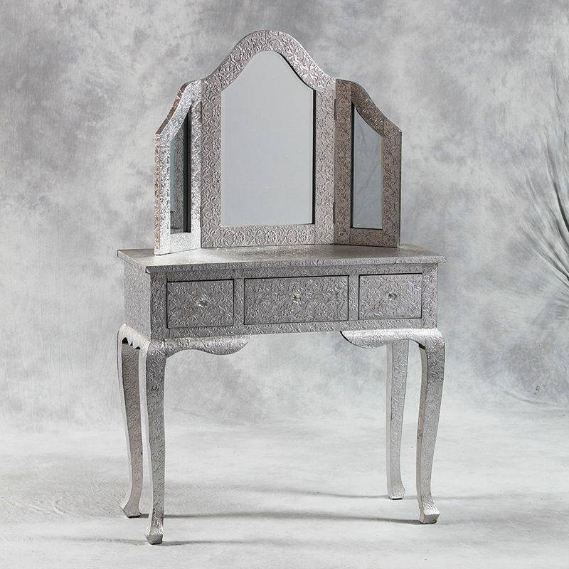 Metal Silver Dressing Table With Tri Mirror Inside Silver Dressing Table Mirrors (#13 of 20)