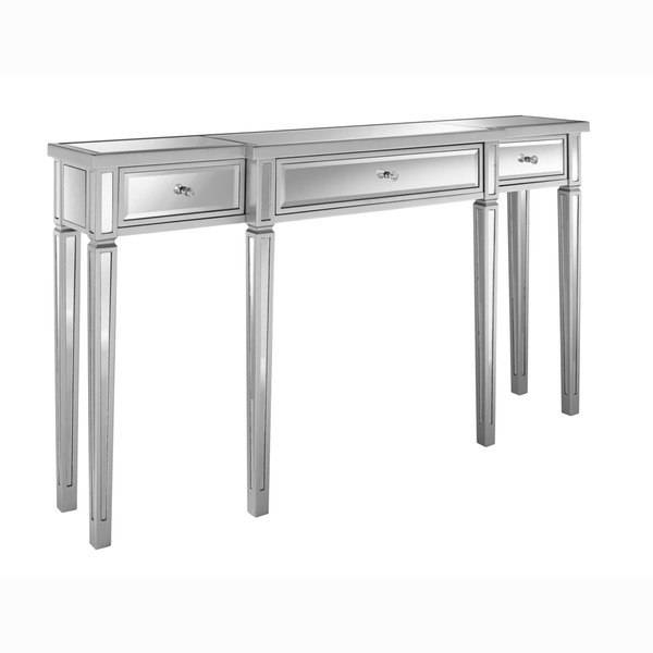 Metallic Silver Finish Mirrored Console Table – Free Shipping With Mirrors Console Table (#7 of 20)