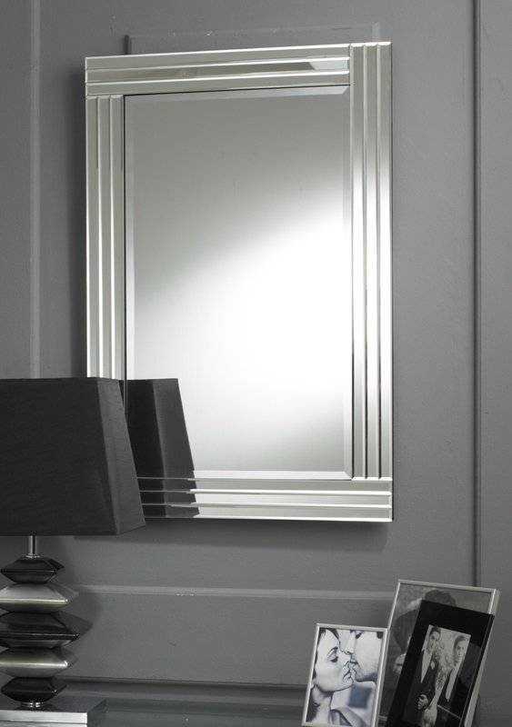 M&h Designs Modern Rectangular Clear Triple Bevelled Accent Mirror With Bevelled Wall Mirrors (#10 of 20)