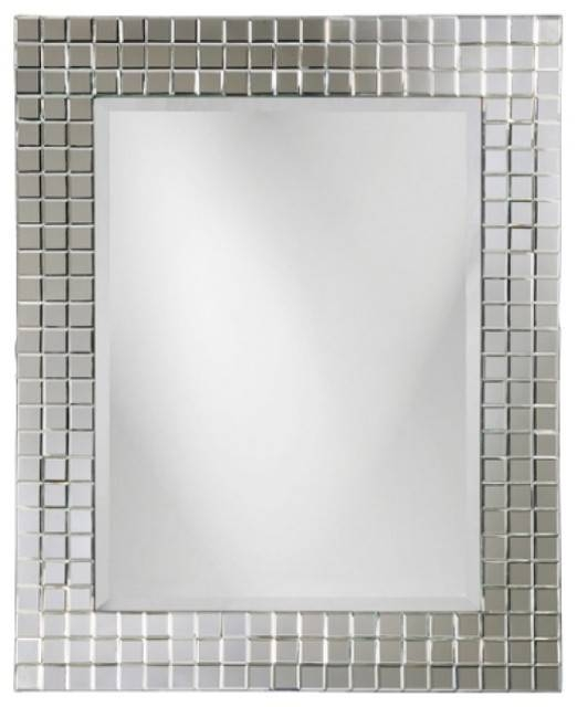 Michael Square Glass Beveled Tile Frame Mirror – Contemporary For Square Wall Mirrors (View 11 of 20)