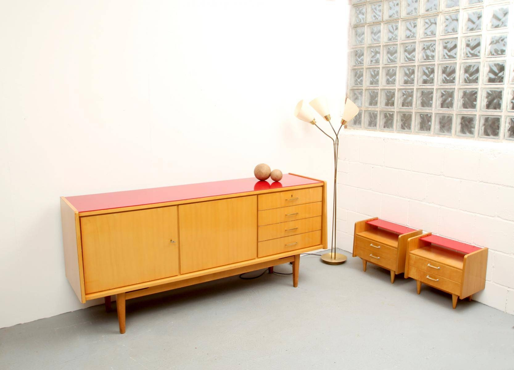 Mid Century Ash Sideboard With Red Glass Top, 1950S For Sale At Pamono Regarding Glass Top Sideboard (#10 of 20)