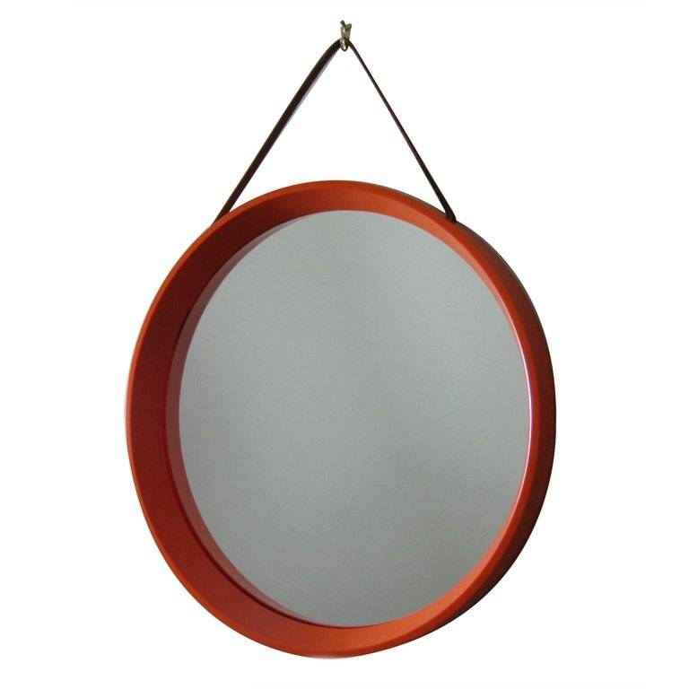 Mid Century Danish Round Orange Mirror With Leather Strap At 1Stdibs Throughout Round Leather Mirrors (#20 of 30)