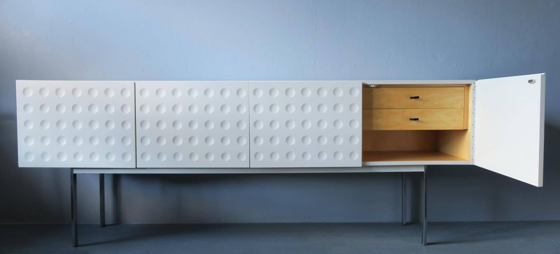 Mid Century Modernist White Sideboard On High Steel Feet For Sale With Regard To High Sideboard (View 12 of 20)