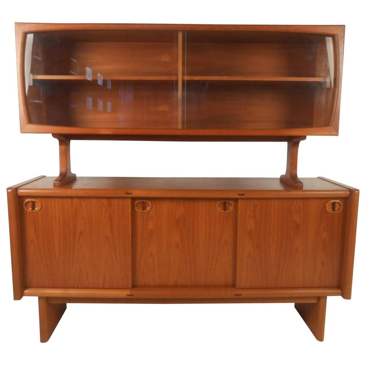 Midcentury Style Danish Teak Sideboard With Display Topper For In Sideboard Sale (#11 of 20)
