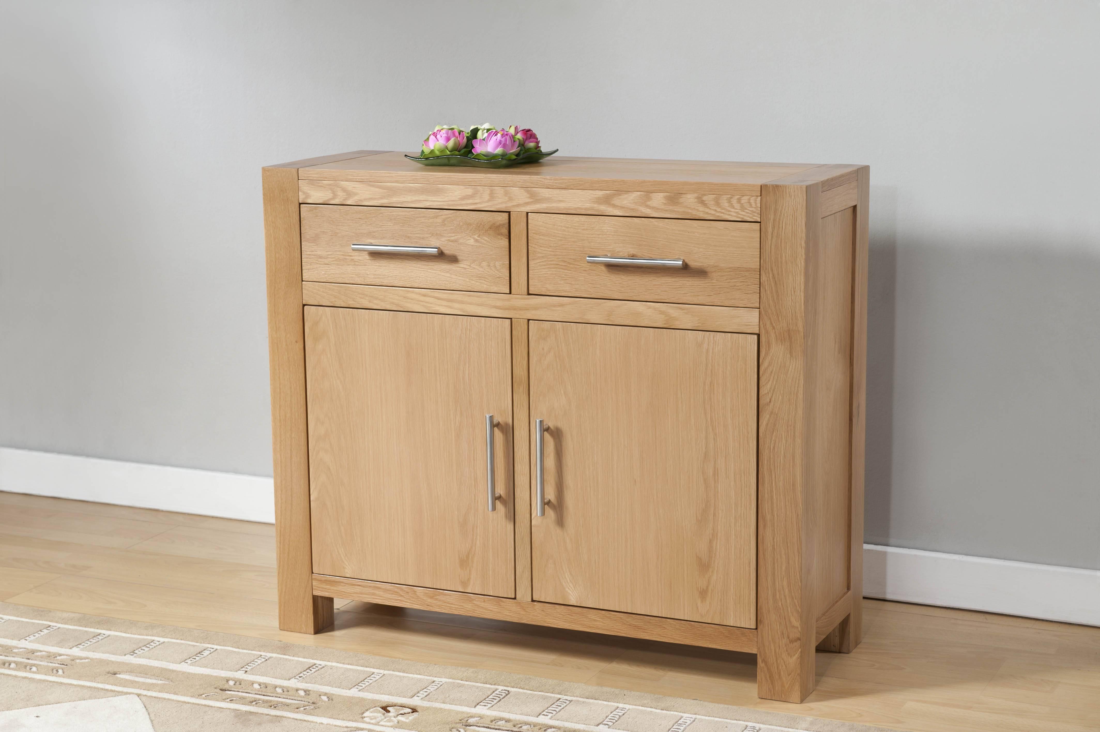 Milano Oak 2 Door 2 Drawer Small Sideboard | Oak Furniture Solutions For Small Sideboard With Drawers (#11 of 20)