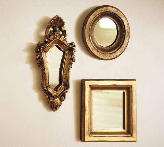 Mini Gilded Gold Mirrors, Set Of 3 | Pottery Barn In Gold Mirrors (#27 of 30)