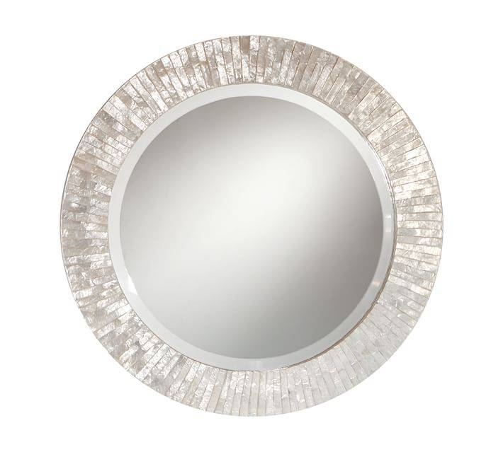 Miranda Capiz Round Mirror | Pottery Barn Regarding Silver Round Mirrors (#21 of 30)