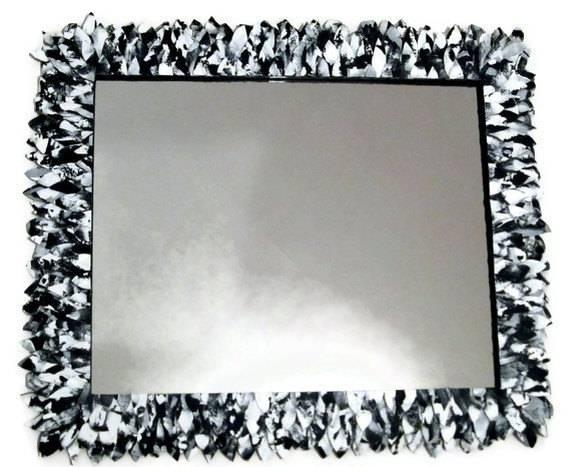 Mirror Design Ideas: Leather Feather Black Bathroom Mirrors Inside Black Leather Framed Mirrors (#23 of 30)