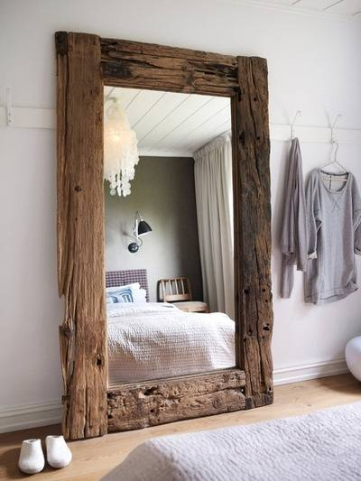 Mirror Framed In Large Reclaimed Boards – Favething With Regard To Large Standing Mirrors (#27 of 30)