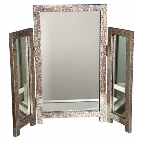 Mirror Moc Croc Silver Dressing Table Mirror Pertaining To Silver Dressing Table Mirrors (#14 of 20)