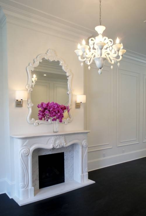Mirror Over Fireplace Design Ideas Regarding White Baroque Wall Mirrors (#16 of 20)