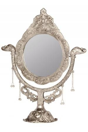 Mirror Stand – Floral And Leaves Design White Metal Mirror Stand For White Metal Mirrors (#17 of 20)