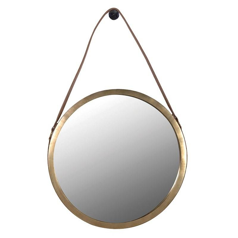 Mirror With Leather Strap In Gold With Regard To Leather Round Mirrors (#13 of 20)