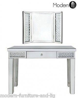 Mirrored And Crystal Bedroom Dressing Table Console Table Mirror With Regard To Free Standing Table Mirrors (#22 of 30)