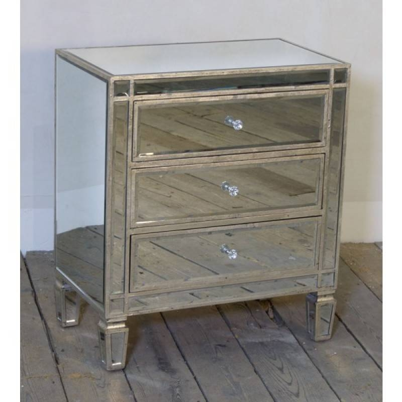 Mirrored Antique Silver 3 Drawer Small Venetian Chest Of Drawers Within Venetian Mirrored Chest Of Drawers (#6 of 20)
